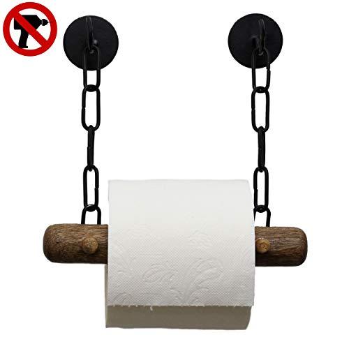 DEKAZIA® Portarrollos Baño Sin Taladro | Adhesivo | Madera De Mango Noble | Porta Rollo Papel Higienico de WC | Negro