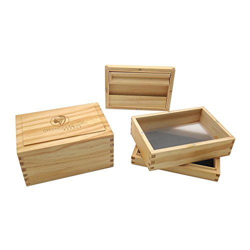 """Green Goddess Supply Solid Pinewood Pollen Sifter Box - 100 Micron Mesh Sifting Screen - Herb & Pollen Shaker & Storage Case - Magnetic Closure - 3-Piece Sifter (5.5"""" x 4"""" x 2.75"""")"""