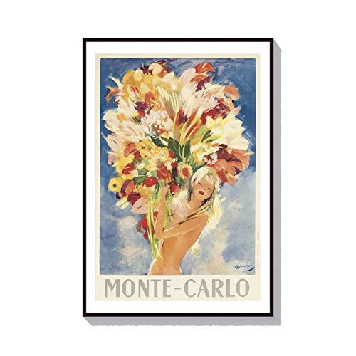Bloemdruk Blonde Pinup Meisje Poster Parijs Print Monte Carlo Poster Vintage Frans Parijs Muur Art Bikini Poster Casino Liefhebber Gift