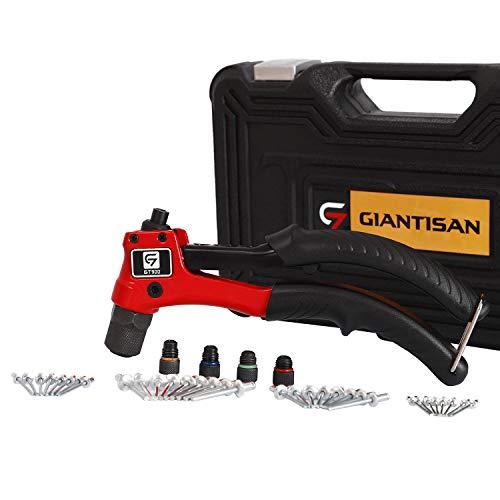 Rivet Gun, GIANTISAN Single Hand Riveter Kit, Professional Rivet Tool Kit with Assorted 80 Pcs Rivets in Rugged Carrying Case