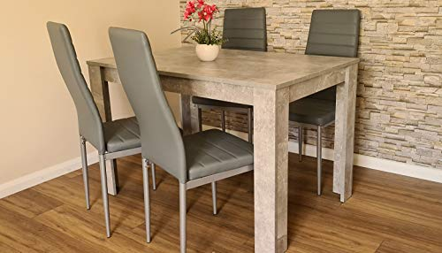 KOSY KOALA Modern wood stone grey Dining Table with 4 PU faux leather grey chairs (Table with 4 grey metal chairs)