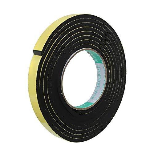 Senrise Schaumstoff-Klebeband, einseitig, Schaumstoffstreifen, selbstklebend, wasserdicht, für Tür- und Fenster-Isolierung, hochdichtes Schaumdichtungsband, 12 mm (B) x 3 mm (T) x 5 m (L)