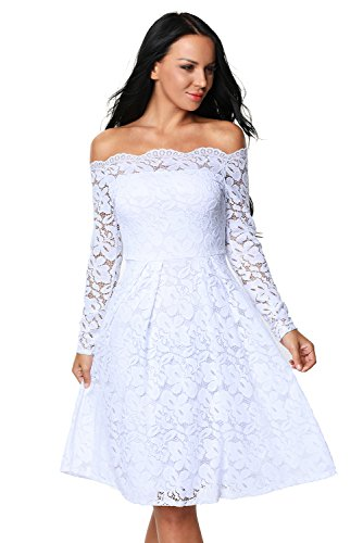 Elegant Women's Gorgeous Lace Off-The-Shoulder Long Sleeve Formal Dress Womens Dresses for Women Large White
