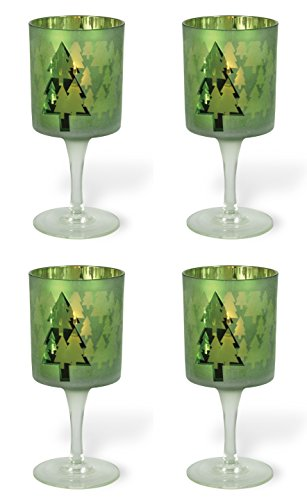 Celebrate the Home Christmas Stemmed Votive Candle Holder, Small, Green Christmas Tree, 4-Count