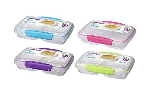 Sistema 4er Set Klip it, Lunchbox Split unterteilt, 350 ml, transparent, Frischhaltedosen, Aufbewahrungsbehälter, 21518 farbauswahl erfolgt zufällig