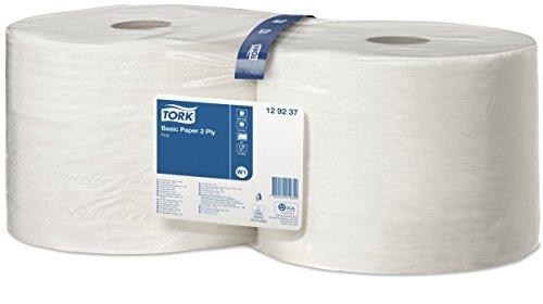 Tork 129237 Papel básico de dos capas/Paños de papel compatibles con el sistema W1 de Tork/Universal/2 x bobinas de 510 m/color blanco