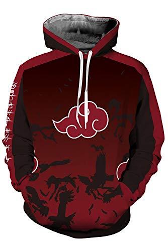 Naruto Akatsuki Mantel Hoodie mit Kapuze Rot M