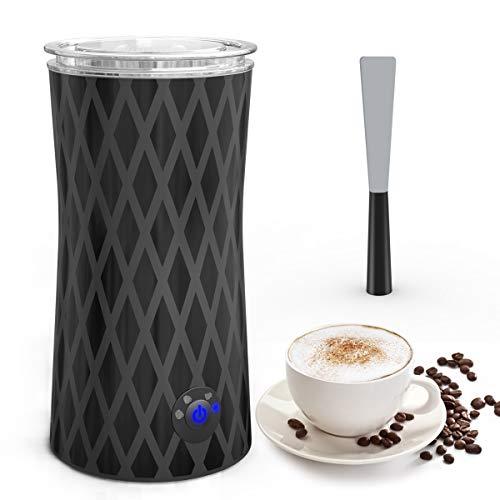 Espumador/Batidor de leche, Morpilot Espumador y Calentador de leche Automática, Espumador de Leche Eléctrico, Funcionamiento silencioso Espuma para Café frío o Caliente y espumador de leche, 4 En 1