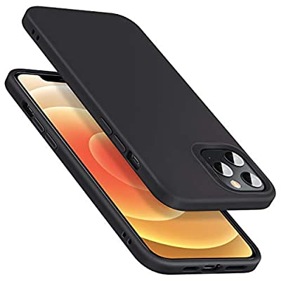 ESR Cloud Series Compatible with iPhone 12 and iPhone 12 Pro Case, Liquid Silicone Case [Comfortable Grip] [Screen & Camera Protection] [Velvety-Soft Lining] [Shock-Absorbing] for 6.1-Inch – Black