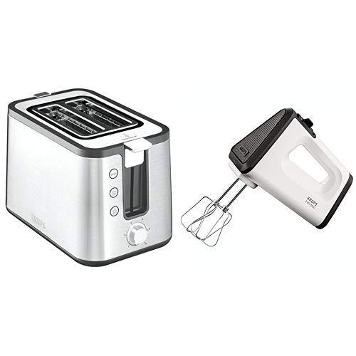 Krups KH442D10 Control Line Premium Toaster mit 6 Bräunungsstufen (720 Watt) edelstahl/schwarz & GN5021 Handmixer mit Turbostufe (500 Watt, 3 Mix 5500, Turbo-Quirle) weiß/schwarz