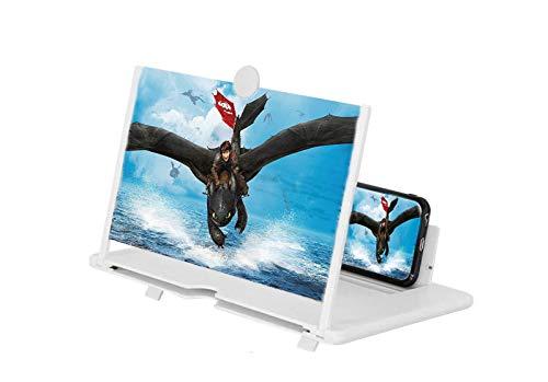HUZIHI Amplificador de pantalla de teléfono 3D con lupa de pantalla de 14 pulgadas, lupa de pantalla, teléfono móvil, aumento 3D, pantalla de proyector para películas, vídeos y juegos (color blanco)