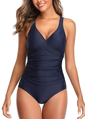 Joweechy einteiliger Badeanzug mit gerüschtem Bauch, hoher Kragen, Netzstoff, Retro-/Vintage-Badeanzug für Damen Gr. XXL, Dunkelblau-X-Rückseite