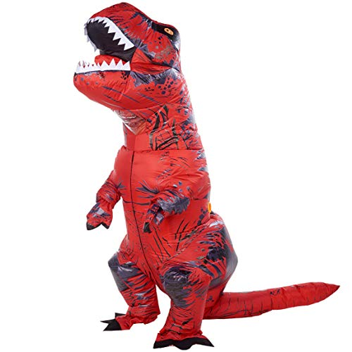 ATDAWN Inflatable Dinosaur Costume, Giant T-Rex Red Inflatable Halloween Cosplay Costume for Adults, Blow Up Costume