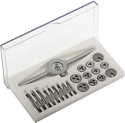 GSR PROFI Miniatur-Gewindeschneidsatz, 30-teilig, metrisch, Geschwindeschneider Set HSS-G, M1-M2,5 Gewindebohrer & Schneideisen, Schneideisenhalter & Reduzierringe, Ideal für Modellbau