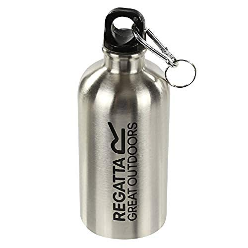 Regatta 0.5 Litre Steel Camping and Hiking with Karabiner Lid Bouteille Mixte, Silver, Taille Unique