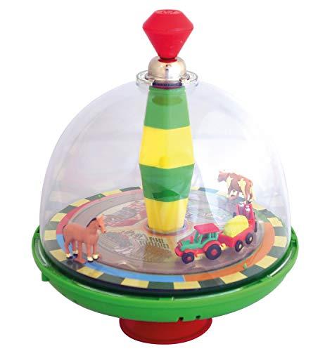 alldoro 68020 - Bauernhof Farm Panoramakreisel Ø 19 cm, Pumpkreisel mit Sound, Schwungkreisel mit Standfuß, Musikkreisel mit Traktor, klassischer Spielzeugkreisel, Kreisel für Kinder ab 18 Monate