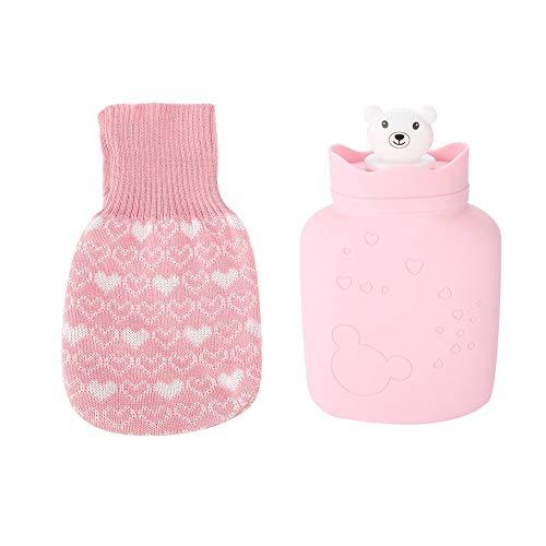 Alupre Botella de Silicona Suave de Agua Caliente Linda Bolsa Oso de Calor/frío Terapia Bolsa de Agua con el Knit Rosa de la Cubierta