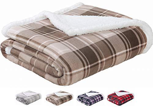 Sedona House Sherpa to Flannel Throw Blanket Brown Plaid| 280GSM Luxury Flannel Fleece Super Warm Soft Velvet Plaid Pattern Throw Blanket| Warm Cozy Lightweight | 50 x 60 Inches