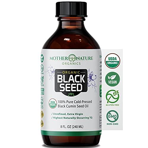 Black Seed Oil - Premium Organic Cold-Pressed Cumin Nigella Sativa (8 oz) - for...
