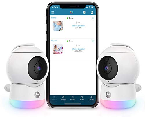 Motorola Peekaboo Video Baby, Elderly, Pet Monitor with Night Light - 2 Portable Cameras with Two-Way Audio - 1080p, Wide Angle View, Night Vision - Remote Pan Scan, Digital Zoom, Tilt