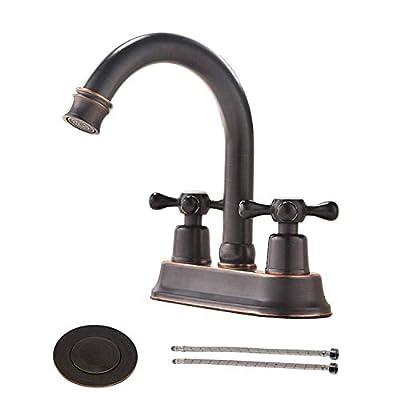 VAPSINT Contemporary Lavatory Vanity 2 Handles 2 Holes Oil Rubbed Bronze Bathroom Faucet, Bathroom Sink Faucet with Water Supply Lines & Pop Up Drain VA-JLT010H-2
