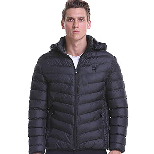 GDJGTA USB Heated Jackets Coat for Men, Heated ski Jackets Athletes Winter Smart USB Electric Heating Warm Cotton Outerwear Black