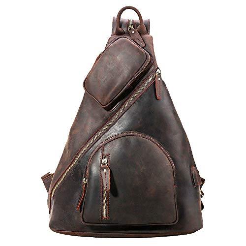 TIDING Men's Leather Crossbody Sling Bag Casual Shoulder Daypacks with USB Charging Port