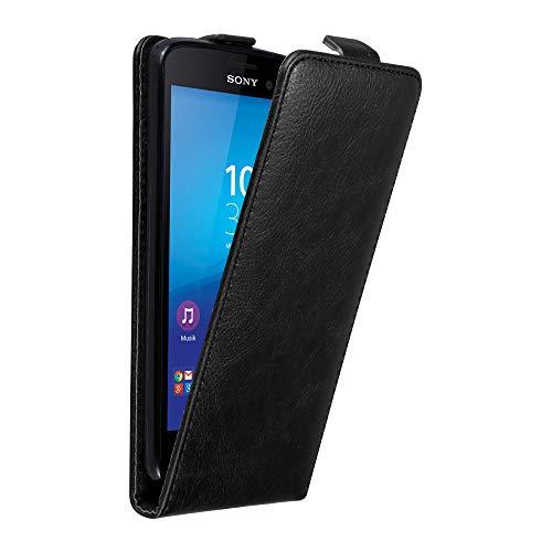 Cadorabo Hülle für Sony Xperia M4 Aqua in Nacht SCHWARZ - Handyhülle im Flip Design mit Magnetverschluss - Case Cover Schutzhülle Etui Tasche Book Klapp Style