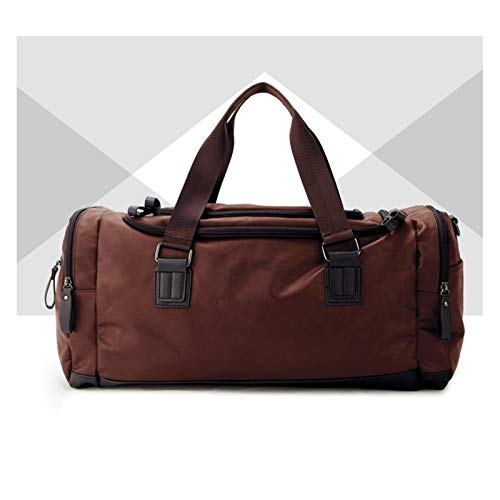 Gyubay Travel Duffel Bag Outdoor Travel Bag PU Leather Hiking Bags Hand Luggage for Men for Traveling Business Trip (Color : Brown, Size : 49x25x22cm)