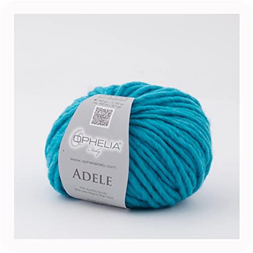 Ophelia Italy Adele – 028 Turquesa – Ovillos de lana de 50 g de hilo mecha, 70 % acrílico, 30 %...