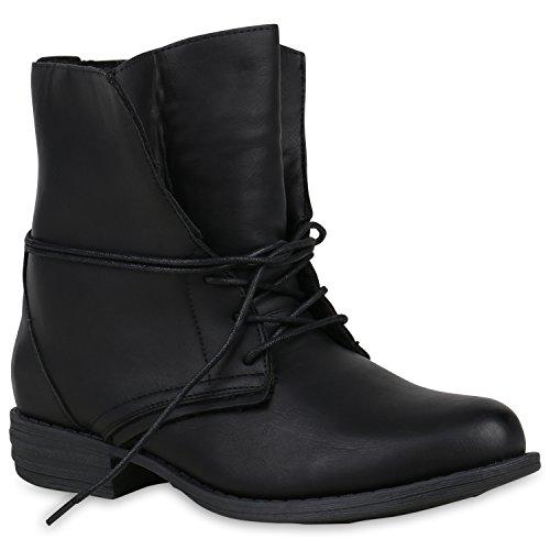Damen Schuhe Schnürstiefeletten Warm Gefütterte Stiefeletten Winter Boots 152998 Schwarz Basic 39 Flandell