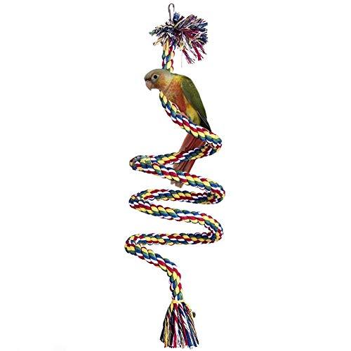 LeerKing Juguetes de Aves con Campana Juguetes para Masticar Loros Cuerda de Escalada Pájaros de Algodón Ajustable Juguetes Guacamayo Periquito En Espinal Longitud 150 cm