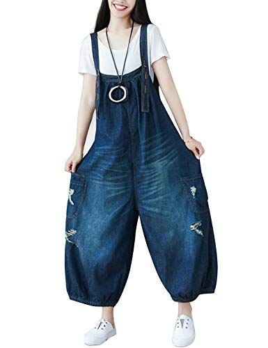 Flygo Women's Loose Baggy Cotton Wide Leg Drop Crotch Cropped Jumpsuit Rompers Overalls (One Size, Style 10 Dark Blue)