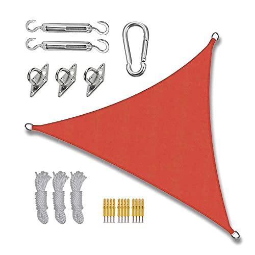 MIKUAP Toldo Vela de Sombra,Triángulo de Vela Parasol Paño de Sombrilla con 3 Cuerdas Y Gancho En D Impermeable Anti-UV Toldo para Patio Jardín Patio Cabaña Rojo 5 X 5 X 5 M