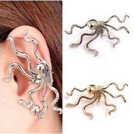 DIVISTAR Moda Única Punk Gold Silver Color Pulpo Forma Ear Cuff Hook No Perforado Ear Warpped Clip Pendiente para Las Mujeres Joyería Fina Earingsyj2072