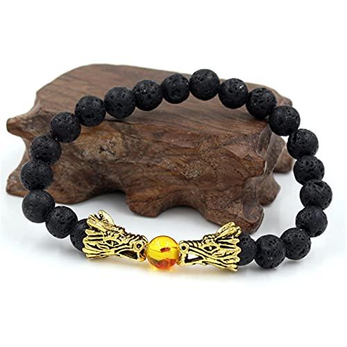 DALIU Pulseras de Yoga con Cuentas de Ojo de Tigre de Piedra de Lava Natural Blanco y Negro para Hombres y Mujeres, joyería de Cuerda elástica