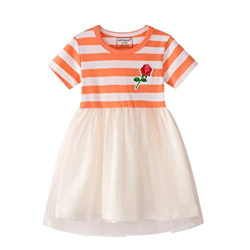Cover Tank-Kleid für Mädchen Tüll Kleider Gestreiftes Kleid mit Blumen Muster Kurzarmkleid Sommerkleid