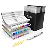 ARTIFY 48 Colors Brush Chisel Markers, Dual Tips Professional Artist Markers, Drawing Marker Set with Carrying Case for Adult Coloring and Other Drawing Media for Beginner or Experienced Artists