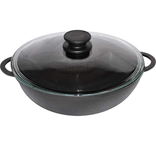 BIOL Gusseisen Wok-Pfanne 5 Liter 30 cm mit Glas-Deckel - Induktion - für gesundes Kochen Kasan Kazan