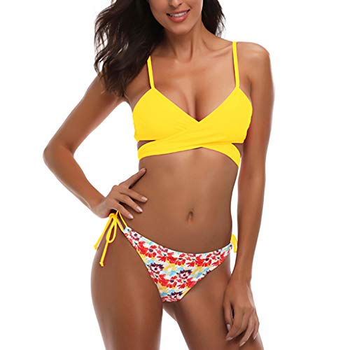 Bikinis amarillo push-up con relleno de banda cruzada