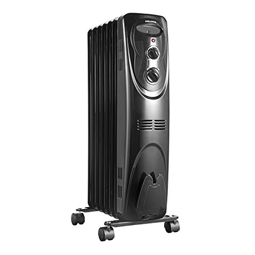 PELONIS PHO15A2AGW, Basic Electric Oil Filled Radiator, 1500W Portable Full Room Radiant Adjustable Thermostat, Black Space Heater