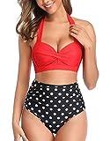 Tuopuda Mujer Retro Cintura Alta Conjunto de Bikini de Dos Piezas con Pliegues Halter Fruncido Push Up Arriba Trajes de baño Acolchados