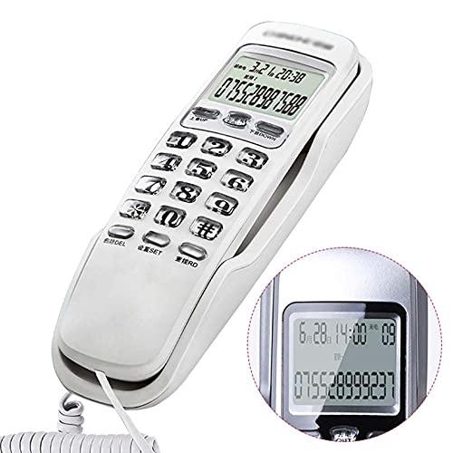 Teléfono con Cable montado en la Pared Pequeño para Llevar la Pantalla de identificación de Llamadas Teléfonos con Botones Grandes para Personas Mayores Oficina/Hogar Teléfono Fijo Teléfono Fijo O