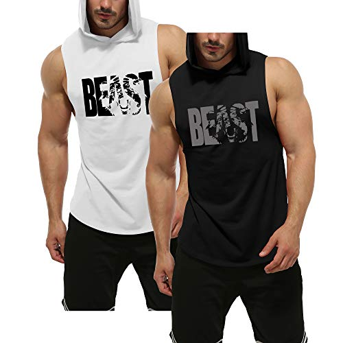 GYM REVOLUTION Men's 2 Pack Beast Workout Sleeveless Shirts Muscle Hooded Tank Gym Fitness Quick Dry Sleeveless Hoodies Black & White M
