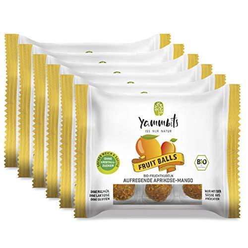 Yammbits Fruchtkugeln Aufregende Aprikose-Mango 6er-Set (6x 70g) | 100% Frucht, 0% Zuckerzusatz aus Bio-Früchten | Gesunde und Leckere Snacks [Vegan, Glutenfrei]