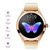 RanGuo Bluetooth Smartwatch für Damen, Outdoor Sports IP68 wasserdicht Intelligente Armbanduhr für Android und ios System, Support-Anruferinnerung und Nachrichtenerinnerung (Stahlband, Gold)