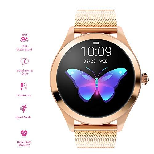RanGuo, Smart Watch da donna, Bluetooth Smart Watch IP68, impermeabile, braccialetto intelligente per smartphone con sistema Android e iOS, supporta promemoria di chiamata e messaggi.