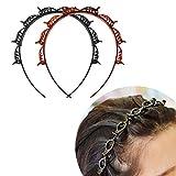 Diadema con pinzas para el pelo, estilo de doble banda, accesorio para el pelo, cinta para el pelo, cinta para el pelo, cinta para el pelo, cinta para el pelo con pinzas negras, cinta para el pelo