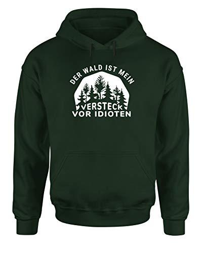 tshirtladen Der Wald ist Mein Versteck vor Idioten Hoodie Unisex Outdoor und Wandern Spruchshirt, Grün, Größe: Large
