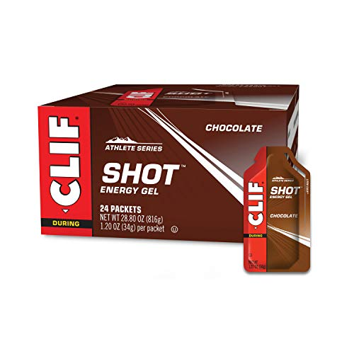 CLIF SHOT - Energy Gels - Chocolate Flavor - Non-GMO - Non-Caffienated - Fast Carbs for Energy - High Performance & Endurance - Fast Fuel for Cycling and Running (1.2 Ounce Packet, 24 Count)